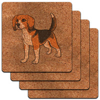 Beagle Pet Dog Low Profile Cork Coaster Set