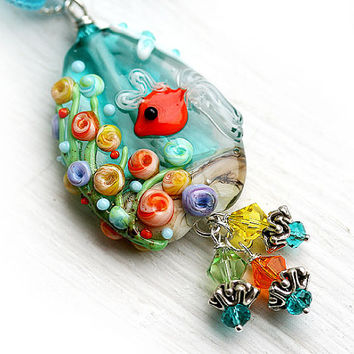 Fish Pendant, beach necklace, Coral Reef, ocean teal lampwork glass, silk ribbon, jewelry by MayaHoney