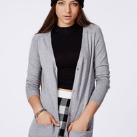Missguided - Codie Lightweight Boyfriend Cardigan Grey