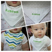 Personalized Green and Blue Chevron Baby Bandanna Bib $5