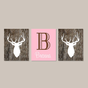 Baby Girl Nursery Decor Girl Bedroom Decor Deer Antler Rustic Nursery Country Girl Nursery Initial Set of 3 Prints Camo Camouflage Bedroom