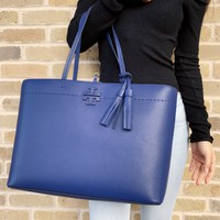 Tory Burch McGraw Leather Large Tote Blue Tassel