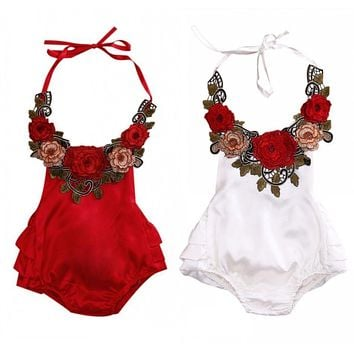 Fashion Baby Girl Summer Romper Sleeveless Backless Halter Ruffles Skirted 3D Rose On Baby Rompers Kids Jumpsuit Outfit Sunsuit