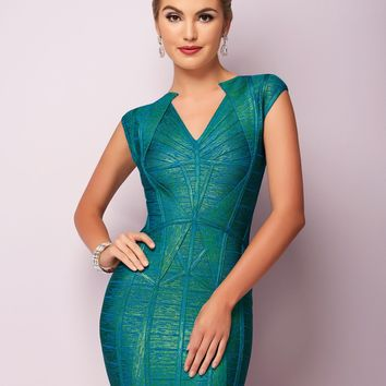 Hannah S 27106 Tight Metallic Bandage Dress | RissyRoos.com