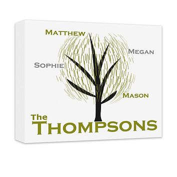 Personalized Family Tree Contemporary Canvas Wall Art