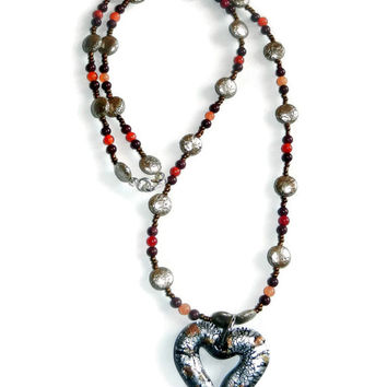 Glass Heart Necklace, Beaded Necklace, Orange, Copper, Maroon, Mothers Day Gift, Womens Necklace