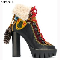 2017 Runway Style Winter Shoes Women Chunky Platform High Heel Ankle Booties Wool Fur Inside Snow Boots Lace Up Motorcycle Boots