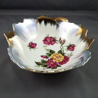 Hand painted Bowl, Vintage lusterware, Occupied Japan, Flowered lusterware, silver tipped bowl, Mixed metal dish, Luster candy dish