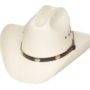 Western Express Cattleman Cattle White Straw Hat Silver Black Band with Conchos Elastic Band Inside (Small/Medium)
