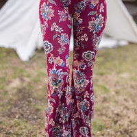 Kelso Paisley Printed Flared Leggings (Ruby)