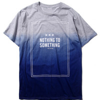 Blue Color Block Nothing to Something Faded T-Shirt