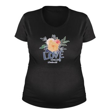 Love Never Fails Corinthians Bible Quote Maternity Pregnancy Scoop Neck T-Shirt