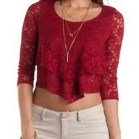 Layered Lace Flounce Crop Top by Charlotte Russe