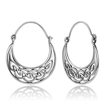 925 Oxidized Sterling Silver Open Celtic Knot Symbol Half Moon Hinged Hoop Earrings 12quot