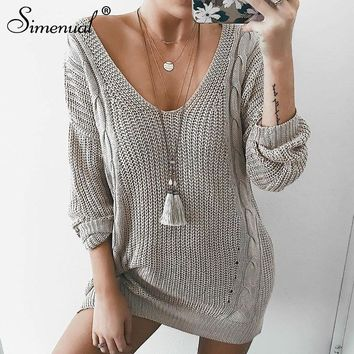Simenual Casual long lady sweater 2018 twist v neck grey autumn winter clothing knitted jumper fashion solid women sweaters