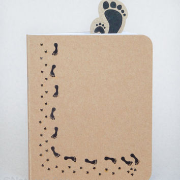 Paw & Feet Notebook - Eco friendly, Cute notebook, Recycled paper, Journal diary, Custom notepad, Notebook journal, Animal lover gift