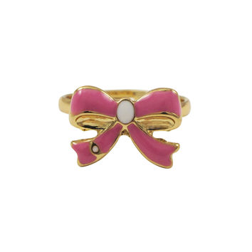 Hot Pink Enamel With White Enamel Center, Gold Plated Brass Bow Adjustable Ring