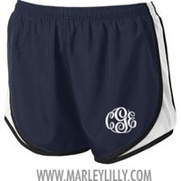 Monogrammed Navy Running Shorts