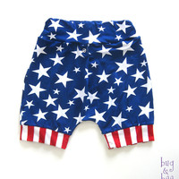 Red White Blue American Flag Harem Shorts, 4th of July or Memorial Day Patriotic Shorts for Baby Boy or Baby Girl
