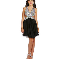 Blondie Nites Sequin Cut Out Party Dress - Black/Silver