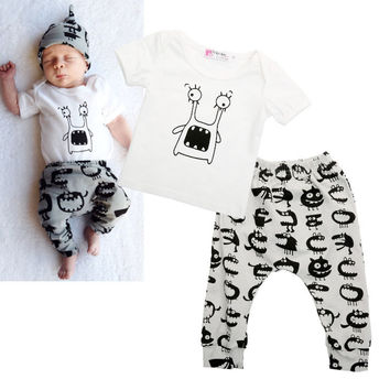 Cute Monster Themed Shirt and Pants Set