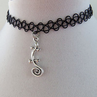 Gecko lizard charm black tattoo stretch choker necklace