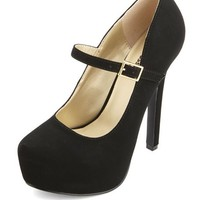 PLATFORM NUBUCK MARY JANE PUMPS