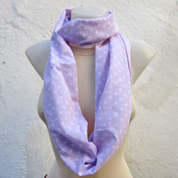 infinity scarf Loop scarf Neckwarmer Necklace scarf Fabric scarf   White Lilac  Polka Dot
