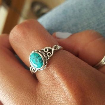 Antique Style Jewelry 925 Sterling Silver Turquoise Natural Gemstone Bride Wedding Engagement Vintage Ring Gifts Size 5-12