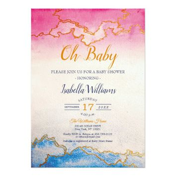 Modern Chic Gold Marble Baby Shower Invitation