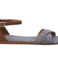 TOMS Shoes Blue Chambray Women's Ankle Strap Flat Correa Sandals,