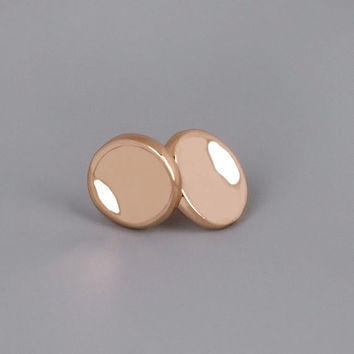 Rose Gold Large Pebbles Studs - Handmade Recycled 18k Rose Gold Coated Earrings