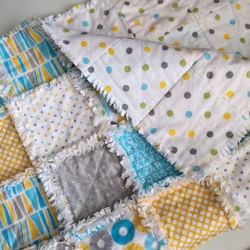 Yellow Baby Rag Quilt - Flannel Baby from AllAboutTheDetail on : baby quilted blanket - Adamdwight.com
