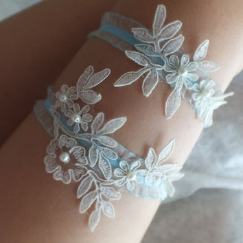 ivory blue lace wedding garter set  floral garter, Wedding Garter, garters, ivory lace Garter, Free Ship