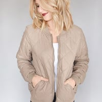 Quilted Bomber Jacket Taupe