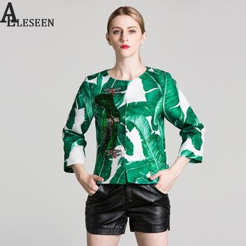 Trendy Luxury Women Jackets 2018 New Spring 3/4 Sleeve Fashion Dragonfly Beading Diamonds Banana Leaf Print Squined Famous Jacket AT_94_13