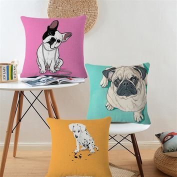 Dachshund Boston Bull Terrier Dog Animal Pug Pillow Nordic Cotton Linen Decorative Cushion Covers Sofa Throw Pillows Pouf b68