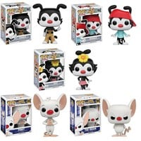 Funko Pop Animaniacs Yakko.Wakko.Dot.Pinky.Brian Set 10631.32.33.37.38