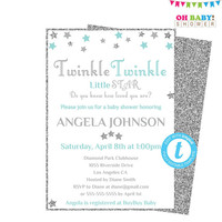 Blue Gray Baby Shower, Templett, Twinkle Twinkle Little Star Baby Shower Invitation, Editable Template, Silver Stars, Boy, Printable STBS