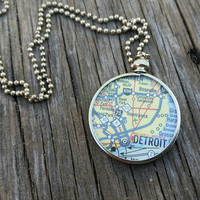 Michigan Map necklace... Detroit map pendant - genuine Michigan map.