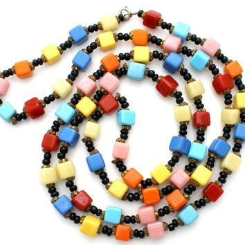 Multi Color Glass Bead Necklace Vintage