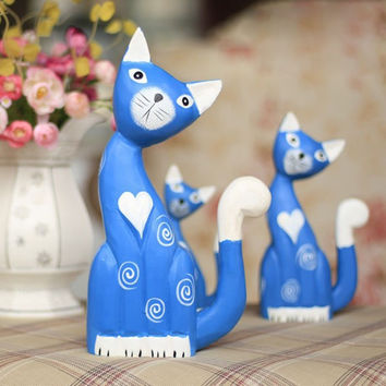 Nordic Wood Cats Decoration Animal Creative Gifts Home Decor [6282380934]
