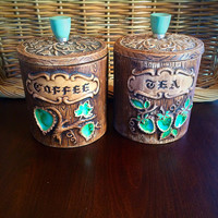 Treasure Craft Kitchen Canisters with Lids, Faux Bois Coffee and Tea Vintage Kitchen Storage, Felix Vintage Market