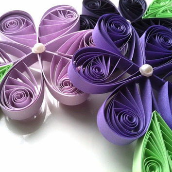 Easter Purple Flower Ornaments Paper Quilled by WintergreenDesign