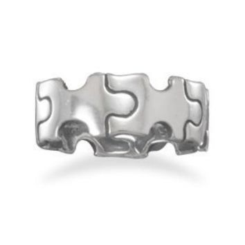 Oxidized Puzzle Piece Ring / Size 7