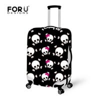 FORUDESIGNS Travel Luggage Suitcase Protective Cover Skull Print Elastic Stretch Dust-proof Cover For 18-30 Inch Trunk Case