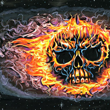 flaming skull original art painting Macabre watercolors goth flames skeleton art SKULL ON FIRE outsider art horror art