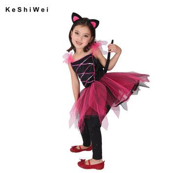 Halloween Costumes For Girl Tutu Dress +Headdress Cheshire Cat Girl Prom Animal Cosplay Apparel kids M L XL