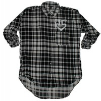 Black & White Plaid Button Front Shirt | R5 Rocks
