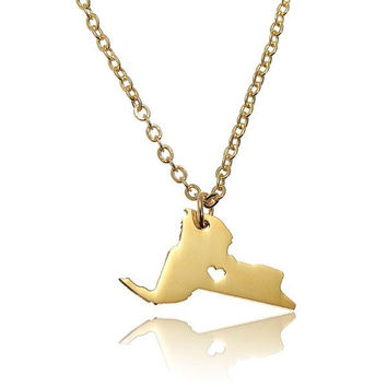 New York States Map Alloy Necklace